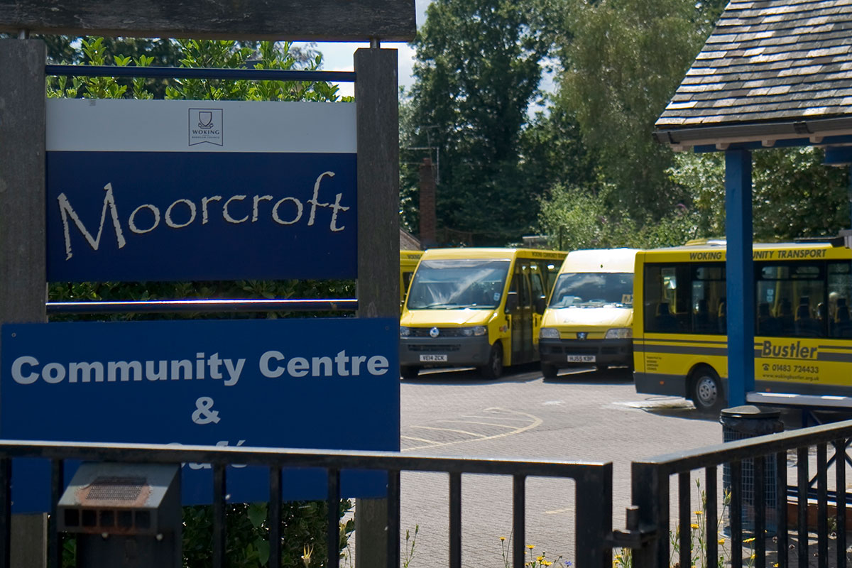 Moorcroft signage with Bustler buses