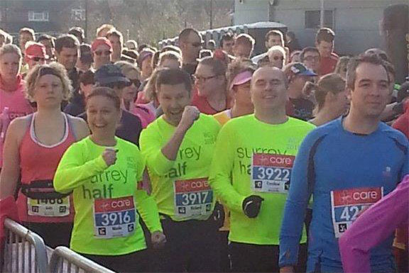All for a good cause - the Bustler Team start the 2015 Woking Half-Marathon - Close up
