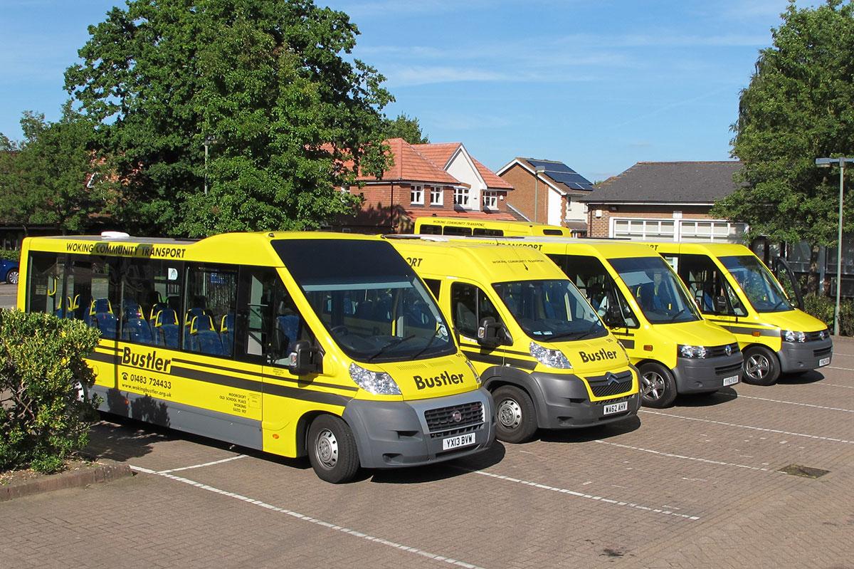 Woking Bustler buses lined up Image